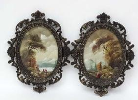 Indistinctly signed pair of oval miniature oils on