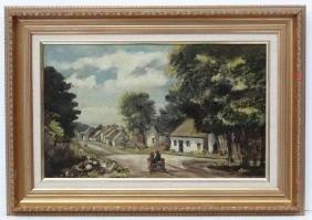 XX Irish School, Oil on canvas, An Irish Village with a