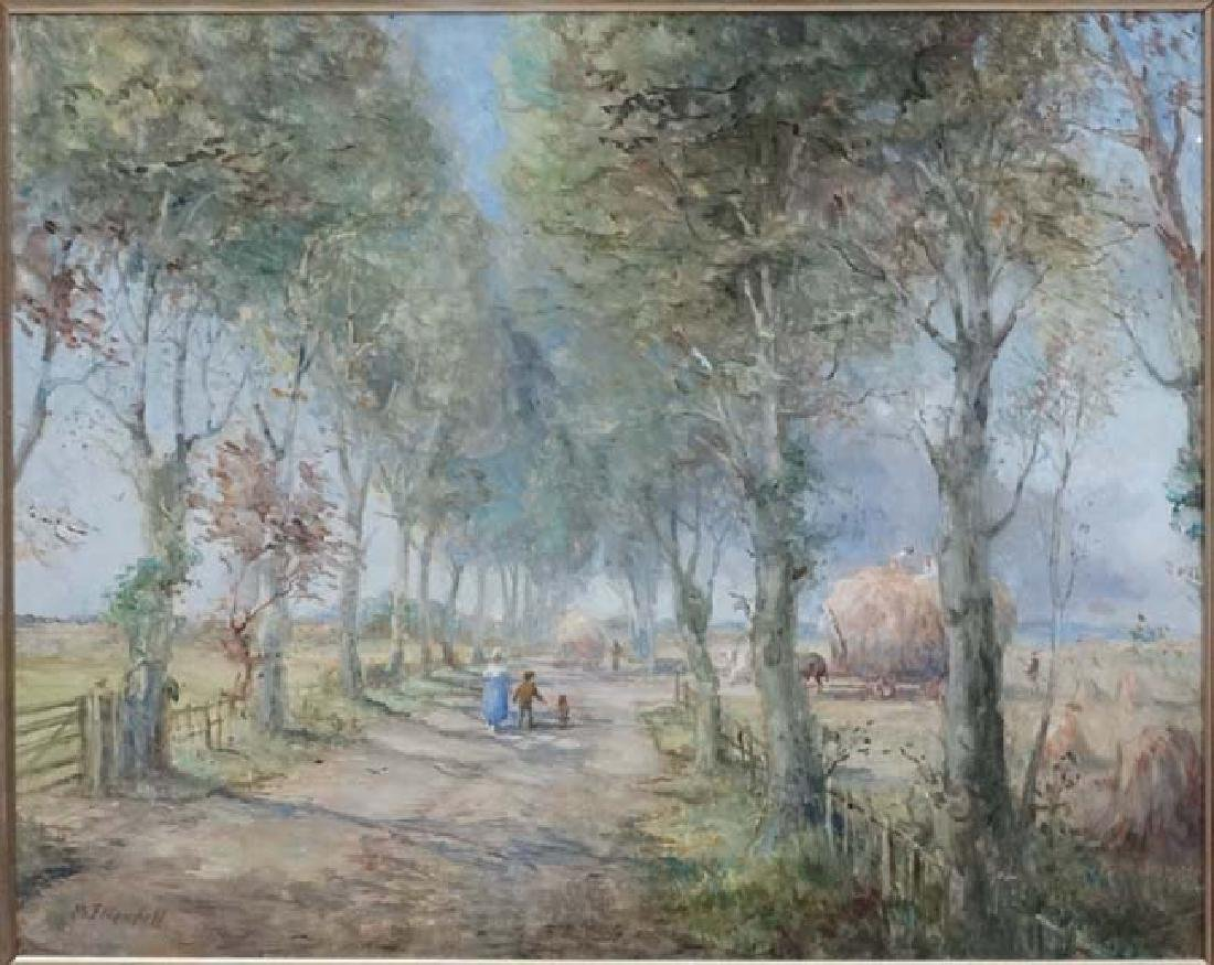 M J Rendall XX, Oil on board, Figures in a tree lined - 2