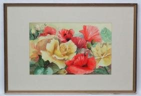 Robin Litt XX Botanical School, Watercolour, Roses and