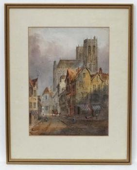 Lewis John Wood (1813-1901), Watercolour, 'Abbeville'