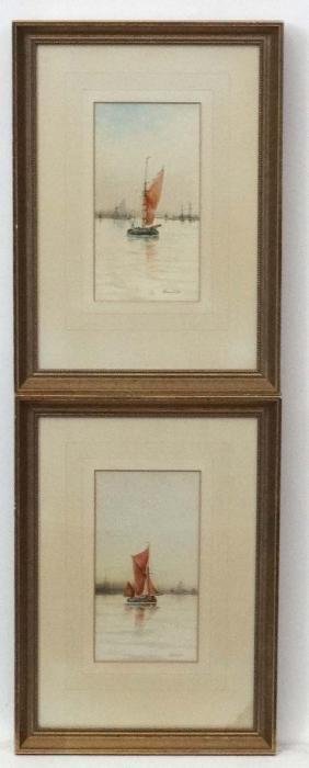 Maurice Avondale XIX-XX, Watercolour , a pair, Fishing
