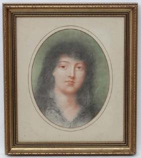 Late XIX Portrait, Pastel , an oval, Study of a young