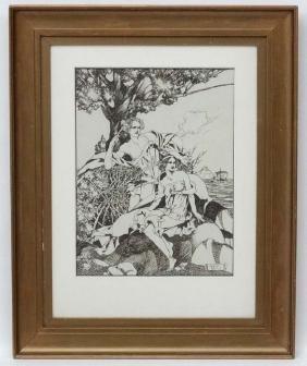 Herbert Pizer (19)'12' Art Nouveau, Pen ink ,