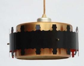 Vintage Retro : a Danish pendant copper banded ceiling