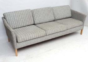 Vintage Retro :  A Danish 3 seat Sofa with stripped