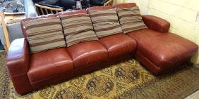 Contemporary Art Deco style Leather 4 seat sofa with
