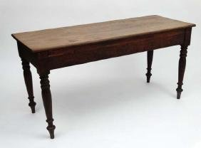 A 19thC mahogany narrow long table 60'' long x 23 1/4''