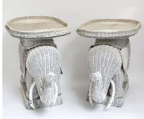 A pair of Lloyd Loom style novelty elephant formed
