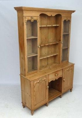 A late Victorian Continental stripped pine dresser with