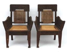 Colonial Chairs : A pair of c.1900 Colonial caned