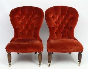 A pair of C 1900 mahogany Button back nursing chairs