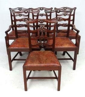 A set of 6 (4+2) mahogany Chippendale style dining