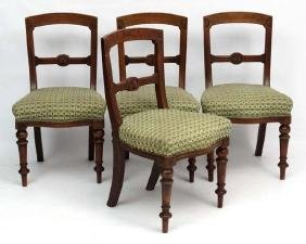 A set of 4 Victorian serpentine fronted overstuffed