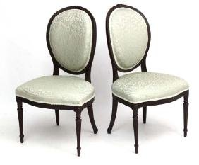 A pair of 19thC Continental mahogany parlour chair with
