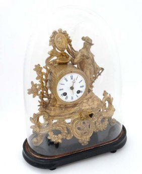 French Gilt Metal Mantle Clock under Dome : with a