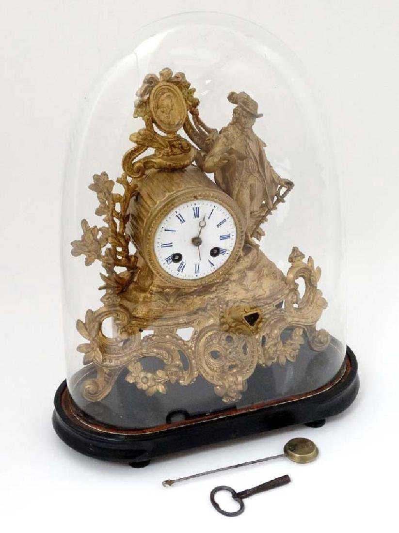French Gilt Metal Mantle Clock under Dome : with a - 3