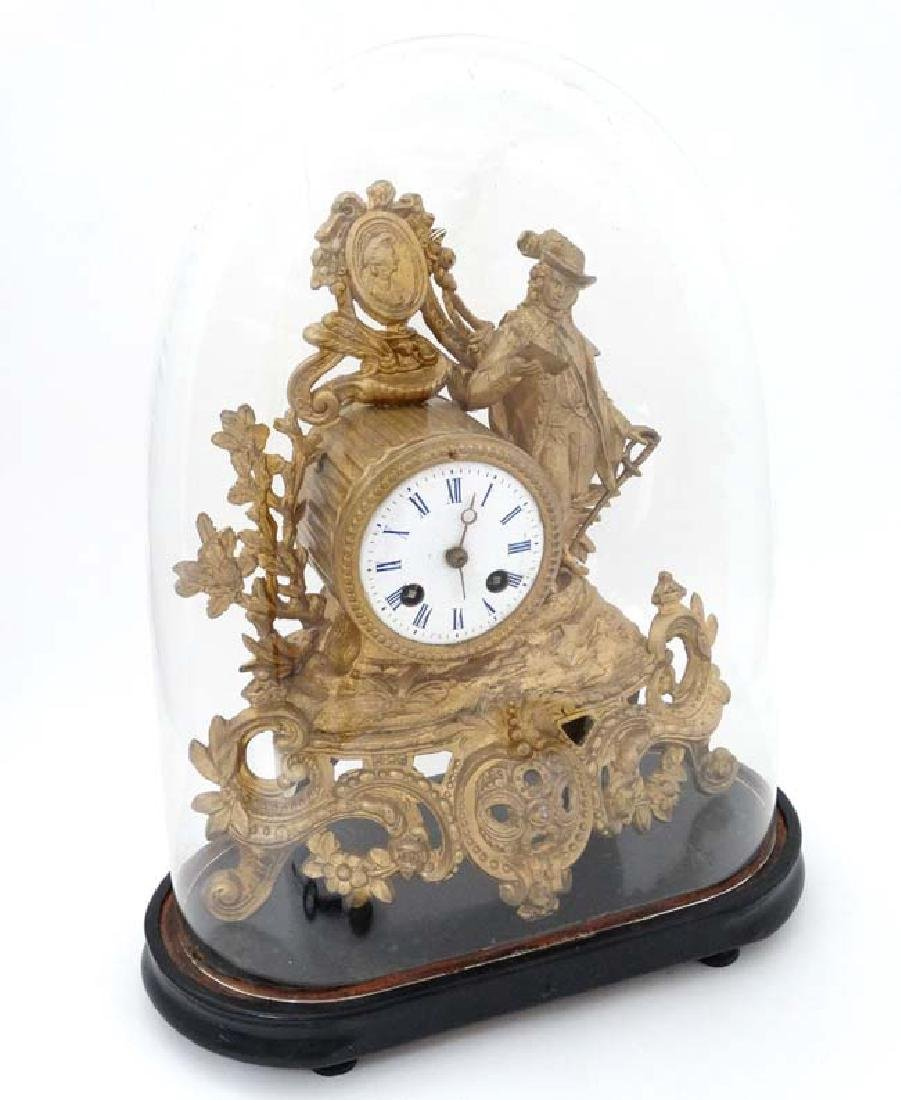French Gilt Metal Mantle Clock under Dome : with a - 4