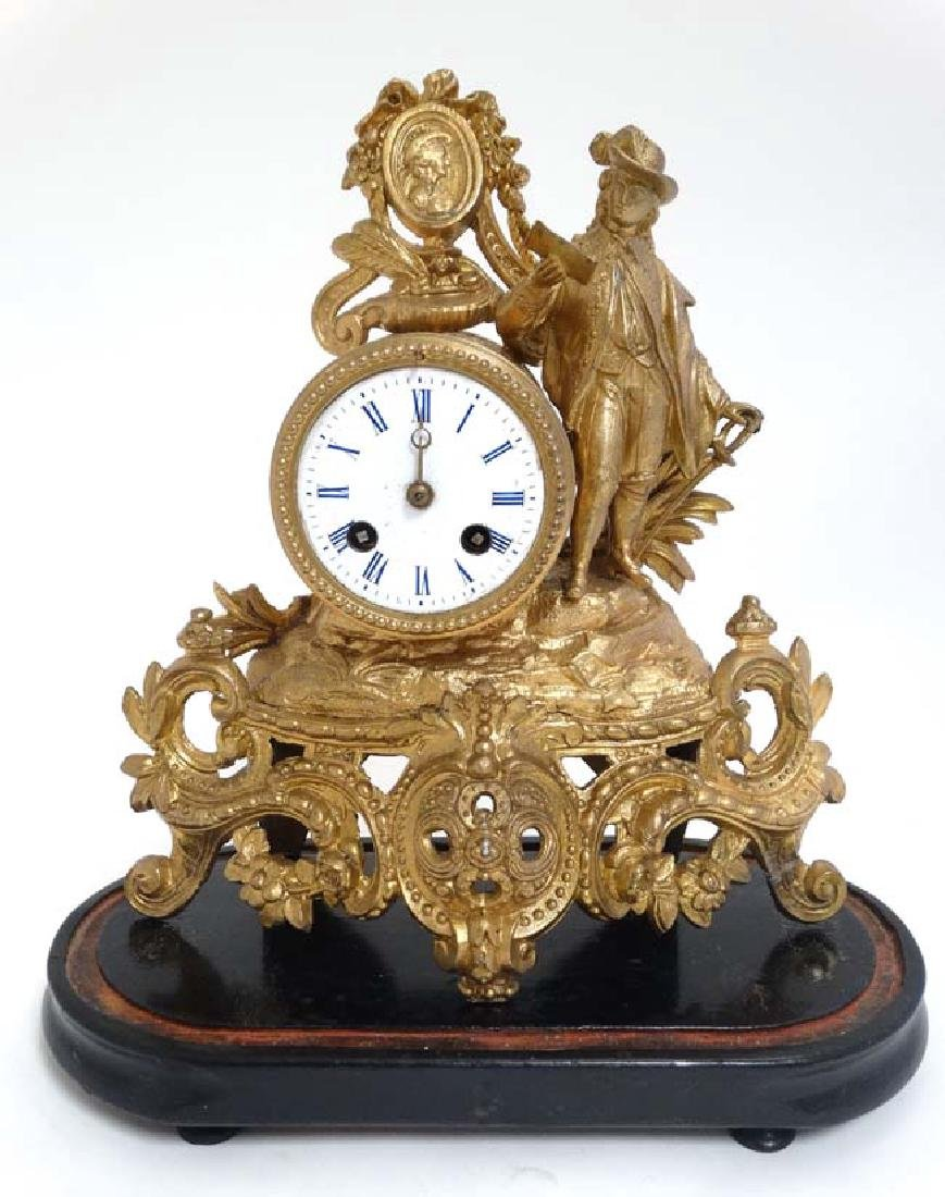 French Gilt Metal Mantle Clock under Dome : with a - 6