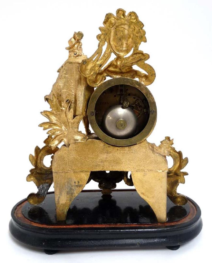 French Gilt Metal Mantle Clock under Dome : with a - 8