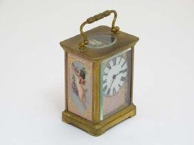 Carriage Clock : a porcelain panelled 5 1/4'' high (