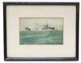 Militaria : An aquatint of wartime shipping in Arctic