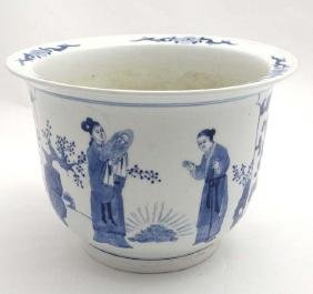 A large Chinese blue and white jardiniere the two