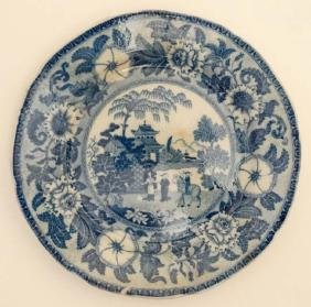 An early 19thC '' Zebra '' pattern blue and white plate