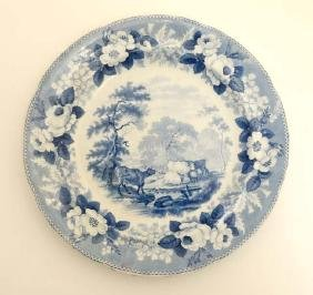 A 19thC '' Cattle Scenery '' series blue and white