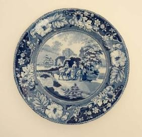 A 19thC '' Family with Mule '' pattern blue and white