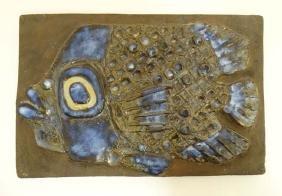 A mid 20thC Royal Copenhagen Aluminia pottery plaque,