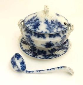 A flow blue Fell China,  ''Anemone'' pattern stand with