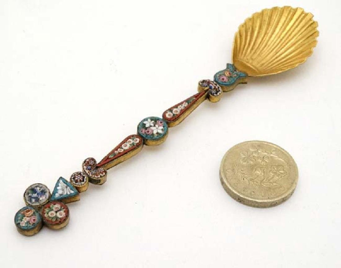 A white metal gilt decorated spoon with micro mosaic - 3