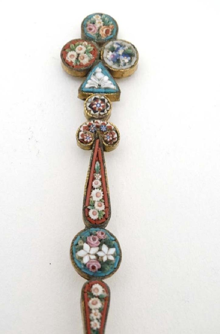 A white metal gilt decorated spoon with micro mosaic - 5