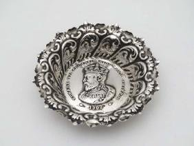 A small silver Coronation souvenir dish with embossed