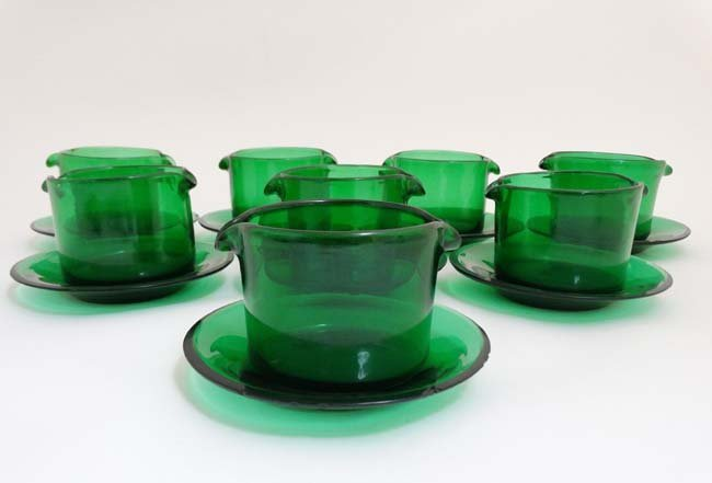 A set of 8 19thC green glass rinsers with double spouts - 5