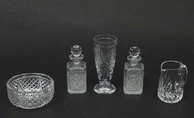 Glass / Crystal ware : A pair of cut glass decanters