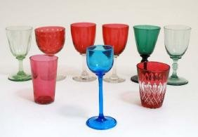 Assorted glass ware to include cranberry glass beakers,