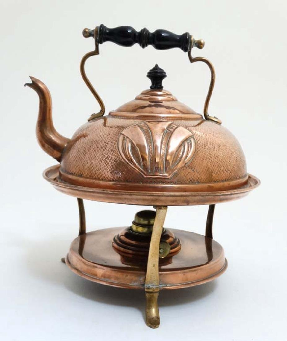 Arts and Crafts : Art Nouveau : a copper spirit kettle