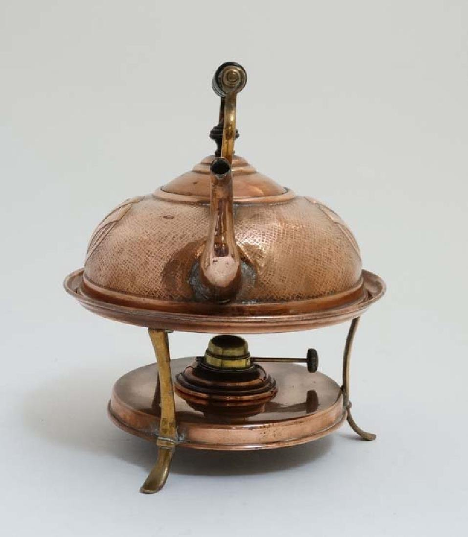 Arts and Crafts : Art Nouveau : a copper spirit kettle - 3
