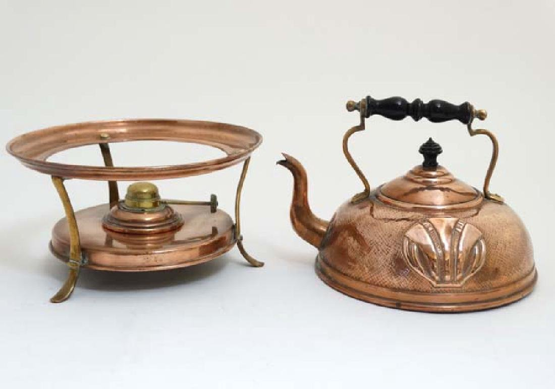 Arts and Crafts : Art Nouveau : a copper spirit kettle - 4