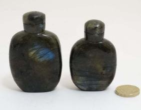 2 Oriental iridescent carved stone snuff bottles