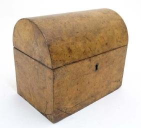 A 19thC burr walnut domed 2-sectional tea-caddy with