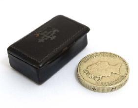 A late Victorian miniature papier-mache pocket snuff