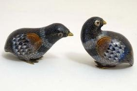 A Pair Of Chinese Cloisonné Quails With Brass Feet And