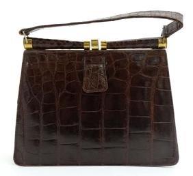 A vintage crocodile effect leather brown ladies single