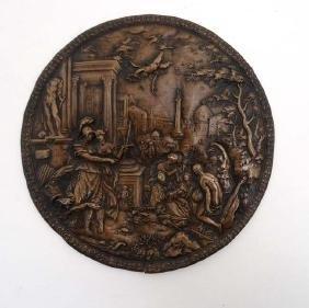 A 19thC cast renaissance style circular relief plaque