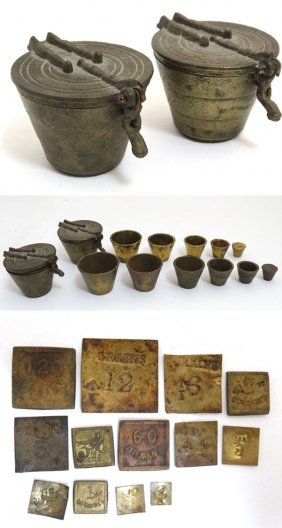 Two 19thC cup weights together with an assortment of