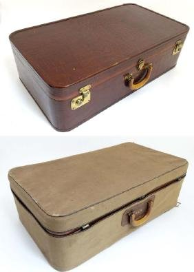 Faux Crocodile skin leather suitcase, with chocolate