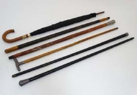 5 assorted walking sticks / canes, some with silver /